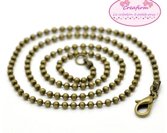 12 necklaces 46cm chain ball Bronze 2.4 mm