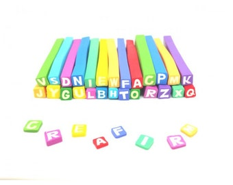 26 Fimo canes multicoloured Alphabet