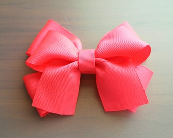 Neon Pink Hair Bow Clip