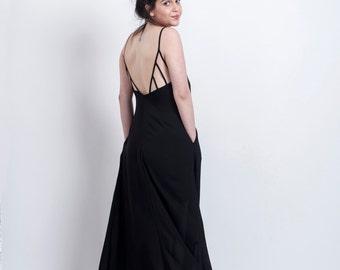 Now on Sale! Black Open back maxi dress, Backless maxi dress, Maxi straps dress, Formal dress, Party dress, SALE!