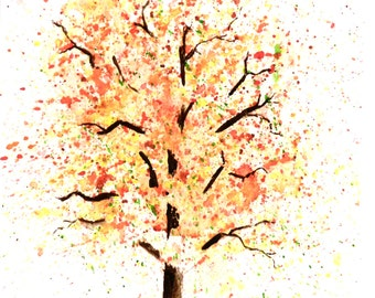 Autumn Tree - 6x9 Original Watercolor Painting