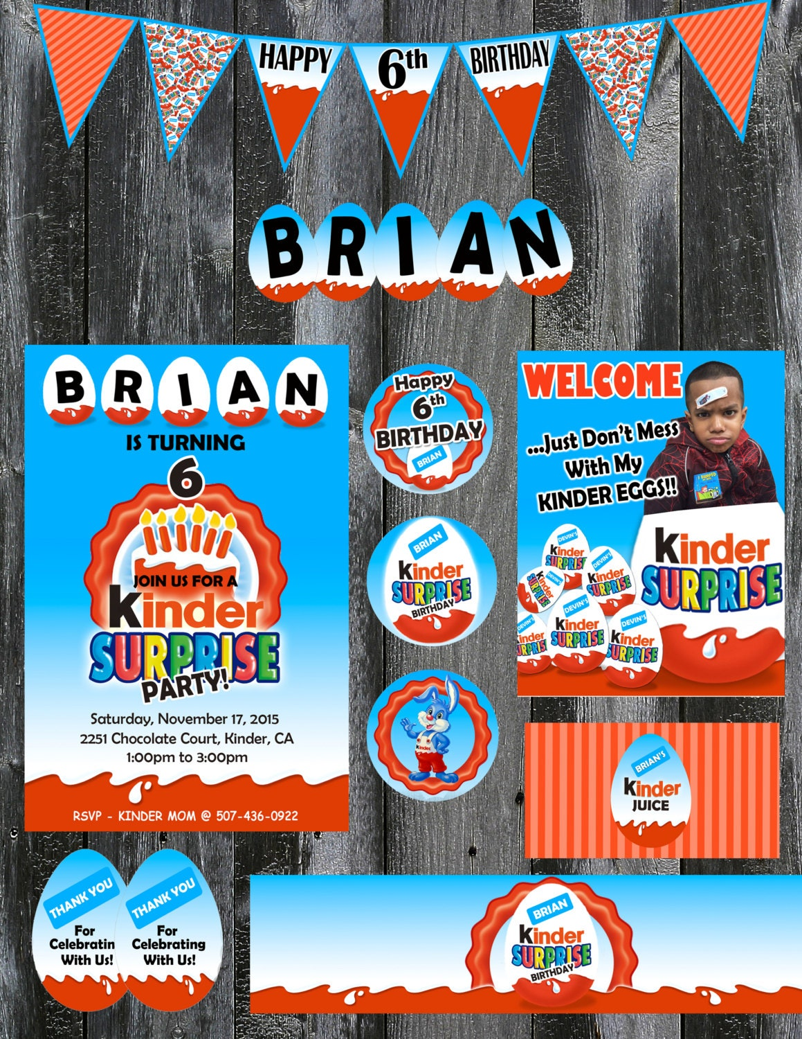 Kinder surprise theme party set printable or printing for Kinder party set
