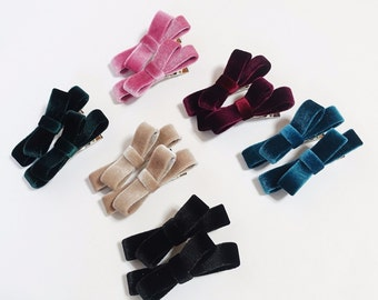 Velvet Mini Bow A Set of Two Hair Clip Set Cute Bow Clip Women Hair Accessory Free Shipping