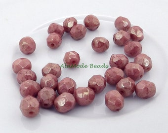 6MM Rose Picasso Czech Glass Beads (25) Opaque Rose Picasso Czech Rounds