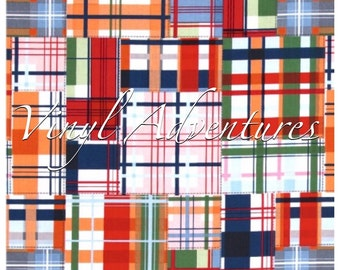 Plaid Heat Transfer Vinyl, Madras Plaid Pattern HTV, Green Navy Blue Red, Tartan, Plaid Patterned HTV, Printed HTV, 1 Sheet, Siser Easyweed