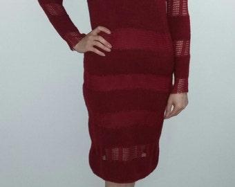 Ready to ship for Valentines day/Dress/woman dress/38-40 size/dark red/handmade/knitting woman dress/knitting girl dress/adult dress