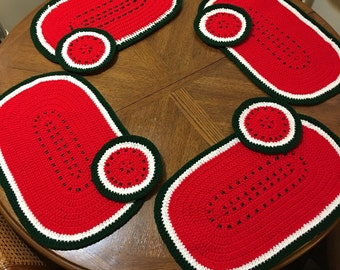 Crochet Watermelon placemats
