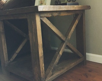 Farmhouse End Tables, X style LOCAL NC ONLY