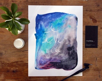 Original Watercolor Painting 8.5 x 11 I Love You Constellation