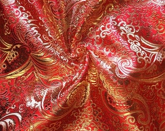 Red / Gold Metallic Paisley Brocade Fabric