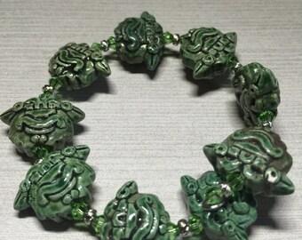 Raku Green Mask Memory Wire Bracelet