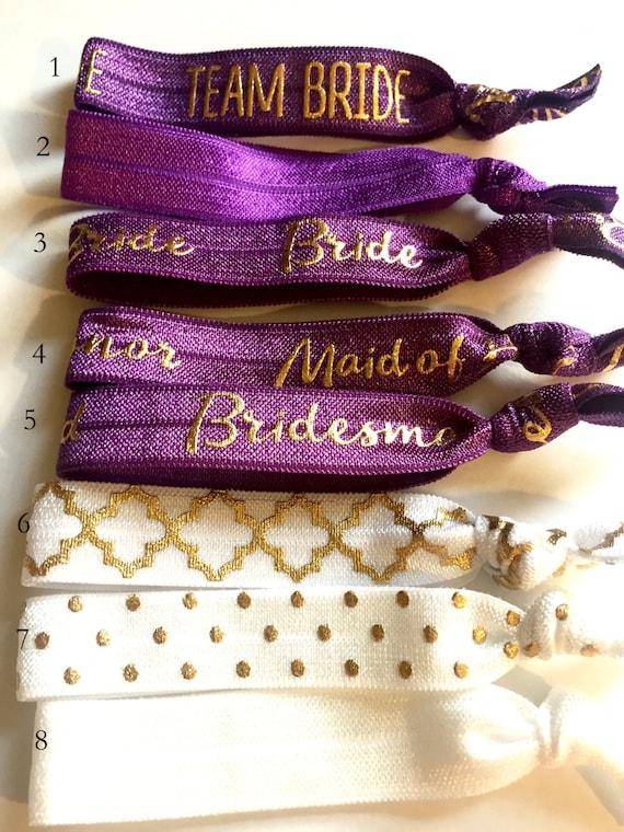 Choose Your Own-Plum & White Bridal/Bridal Party Hair Tie Set-Pick 6 hair ties