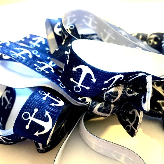 Blue with White Anchor Hair Tie
