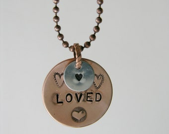 Hand Stamped Copper and Silver 'Loved' Necklace