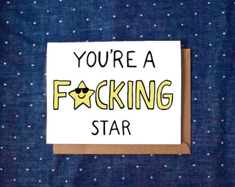 Funny Congratulations Card, You're A Star Card, Congrats Card, Funny Congrats Card, Good Job Card, Friendship Card, Just Because Card
