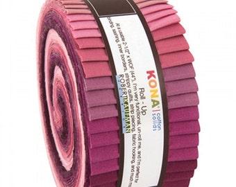 CLEARANCE Robert Kaufman Jelly Roll Kona Cotton Solids Fabric Strips Roll Ups Powder Room RU-435-40