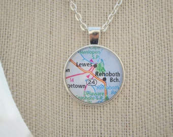 Rehoboth Beach necklace - Delaware Seashore necklace - map pendant necklace - delaware beaches gift - christmas gift- gifts under 20