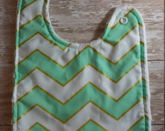 Baby Bib- Mist, White and Gold Chevron Baby Bib, Personalized Baby Bib, Monogram Bib, Embroidered Baby Bib, Minky Baby Bib, Girl or Boy Bib