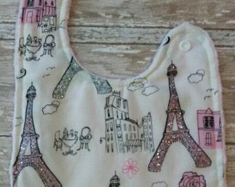 Paris Baby- Pink, White, and Silver Bib with Minky Backing, Baby Girl Bib, Baby Boy Bib,  Minky Baby Bib, Silver Baby Bib, Girl Bib, Boy Bib