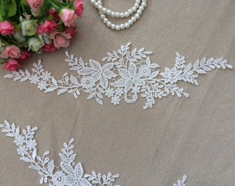 White Lace Appliques Embroidered Flowers Patches For Wedding Supplies Bridal Hair Flower Headpiece 2 Pcs YL174