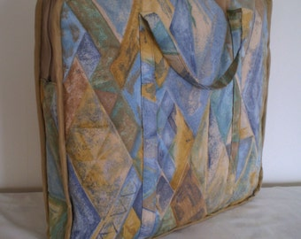 Large Zippered Quilted Tote Bag - Great Craft Bag For Taking Projects To Class Or On Holiday