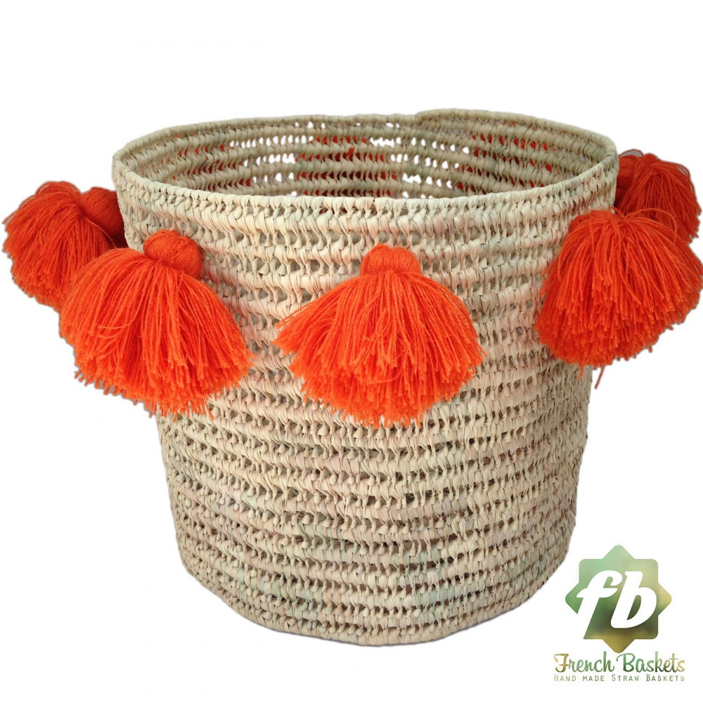 Wicker Basket With Pom Poms : Laundry basket wool pom orange wicker straw bag