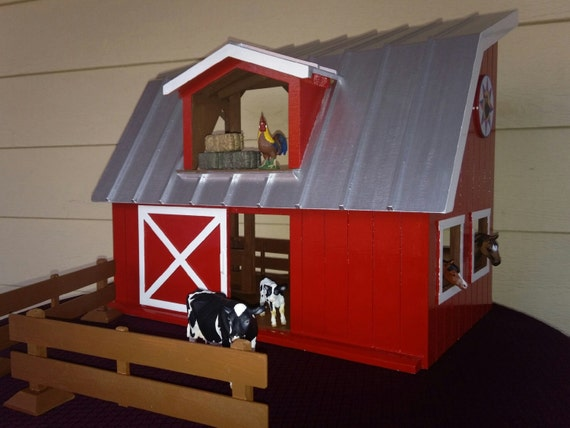 Wooden red farm barn toy horse stable w sliding by for Farm sliding door