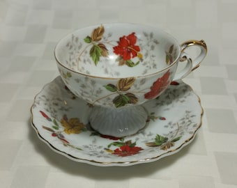 EW 6567 Fine Bone China Teacup and Saucer - Made in Japan - Excellent
