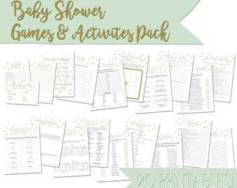Green and Gold Baby Shower Games & Activities Pack - printable PDFs in a gender neutral design