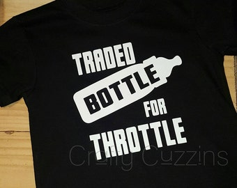 Traded throttle for bottle tee. motorcycle shirt. fast cars. dirtbike kid. brapp