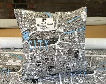 Manchester City Doodle Map Cushion