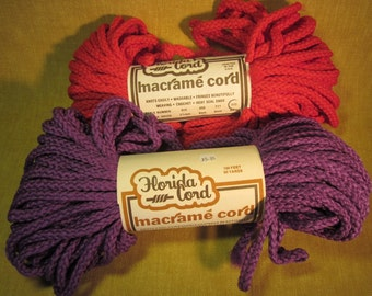 2 skeins 6mm macrame cord, red, purple, 150ft each, weatherproof,colorfast,washable, made in USA
