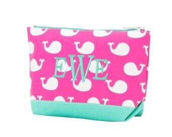 ON SALE Vinyl Monogram Whales Pink & Mint zip pouch- White - makeup-lipstick-jewelry-bag-case-