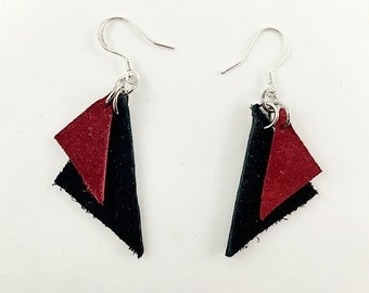 Triangular Leather Earrings, Black and Deep Red