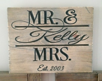 Mr. & Mrs. Carved wood sign, wedding, anniversary