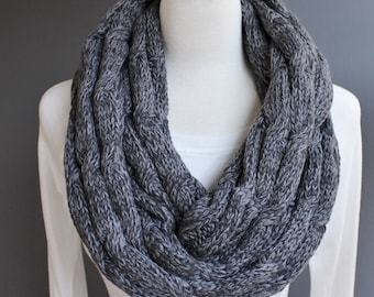 Dark Grey Gray cable knit infinity scarf variegated yarn soft chunky knit circle endless loop long scarf cabled scarf fall winter marled