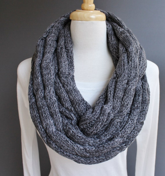 Dark Grey Gray cable knit infinity scarf variegated yarn soft