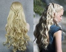 Daenerys Wig - Blonde or Silver - Curly end with a braid - Khaleesi Cosplay Game of Thrones