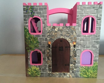 Hand painted kids wood play castle
