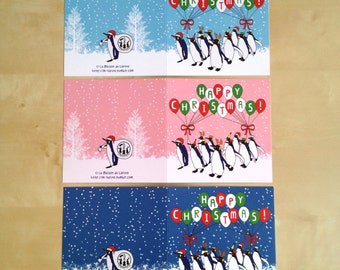 Mix match - Festive Peinguins Christmas Card  - Get a discount with more you get!