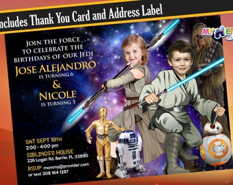 Star Wars Siblings Birthday Invitation. Turn your children into Jedi of their invitation. Star Wars Brother & Sister Invitation.