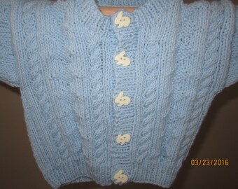 Newborn to 3 mos Handknit  Cardigan Sweater and Hat Blue with cables and textued design