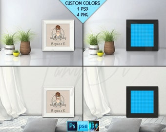 Square #F03 Wide White Black Unmatted Frame on Living Room Floor, 4 Print Display Mockups, PNG PSD PSE Opening 20x20in 50x50cm Custom colors