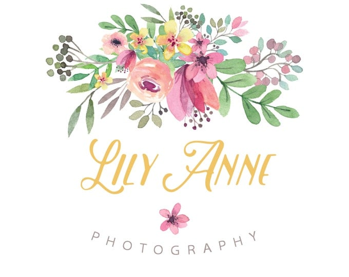 Watercolor Logo and Watermark - Floral -  Script Font - Professional Photography Logo Design - Watermark - Premade Logo Design - PL11