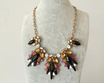 Mix Color Crystal Statement Necklace, Beadwork Necklace