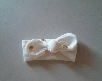 White with Gold Polka Dots Baby Headband