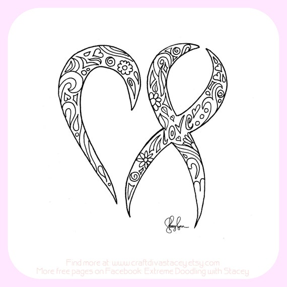 Cancer ribbon coloring page for Cancer ribbon coloring page