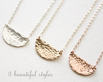 Hammered Half Circle Necklace / Half Moon Necklace / Every Day Necklace / Rose Gold Moon Necklace / Custom Necklace Personalized / Silver