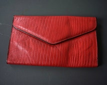 Vintage Amity Red Envelope Clutch Wallet Credit Card Slots Checkbook Pockets Oversized Large Crocodile Leather Gift for Her Birthday