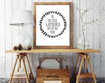 It's The Most Wonderful Time Of The Year, Digital Print Quote, Christmas Printable Art Gift Ideas, Holiday Wall Art Decor, DIGITAL DOWNLOAD